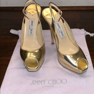 Jimmy Choo gold leather shoes heels size 37.5